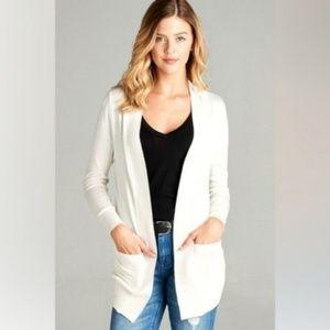 Sweaters - Basic Off White Open Style Pocket Cardigan
